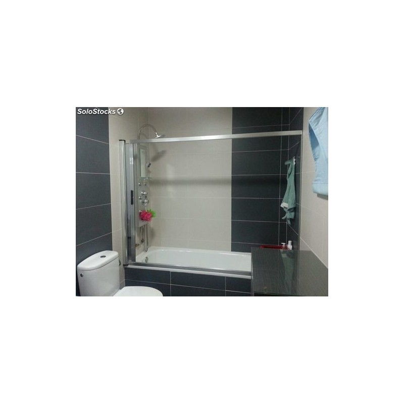Mampara enrollable de bañera aluminio plata vinilo translucido