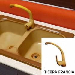 Fregadero Sintetico 2 senos+ Grifo  Color Tierra Francia